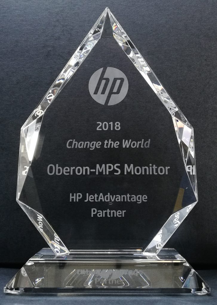 Oberon e MPS Monitor vincono il premio HP JetAdvantage Change the World 2018